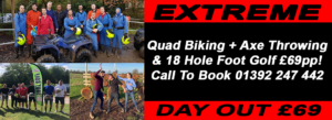 quad biking, axe throwing, foot golf